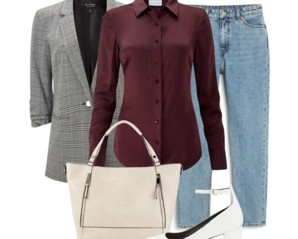 4 Transitional Outfits with a Grey Checked Blazer