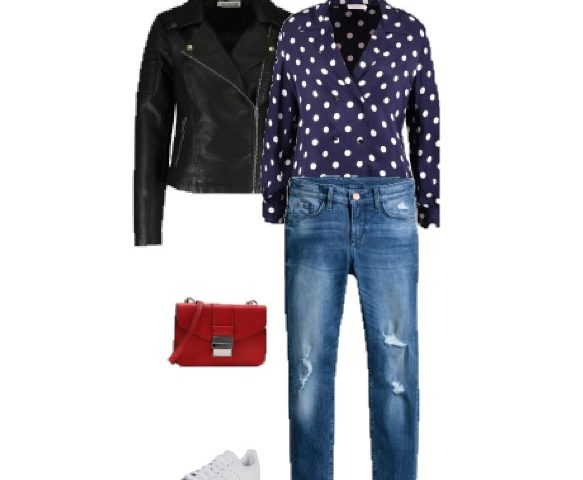 Outfit Of The Day: Navy Polka-dot Blouse