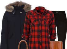 Outfit of the Day: Black Parka and Plaid Shirt