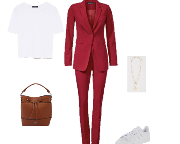 Outfit of the Day: a Red Pant Suit