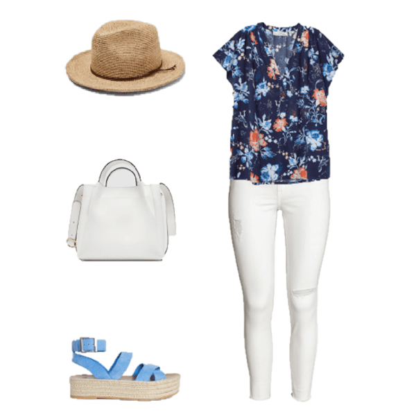 Outfit of The Day: A Floral Blouse With White Jeans