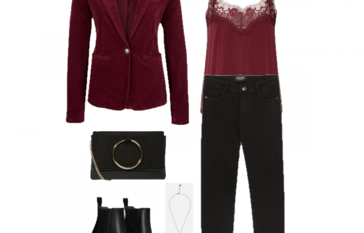 Outfit of the day: burgundy and black