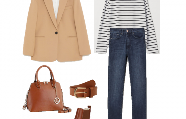 Outfit of the Day: Camel Blazer and Striped tee