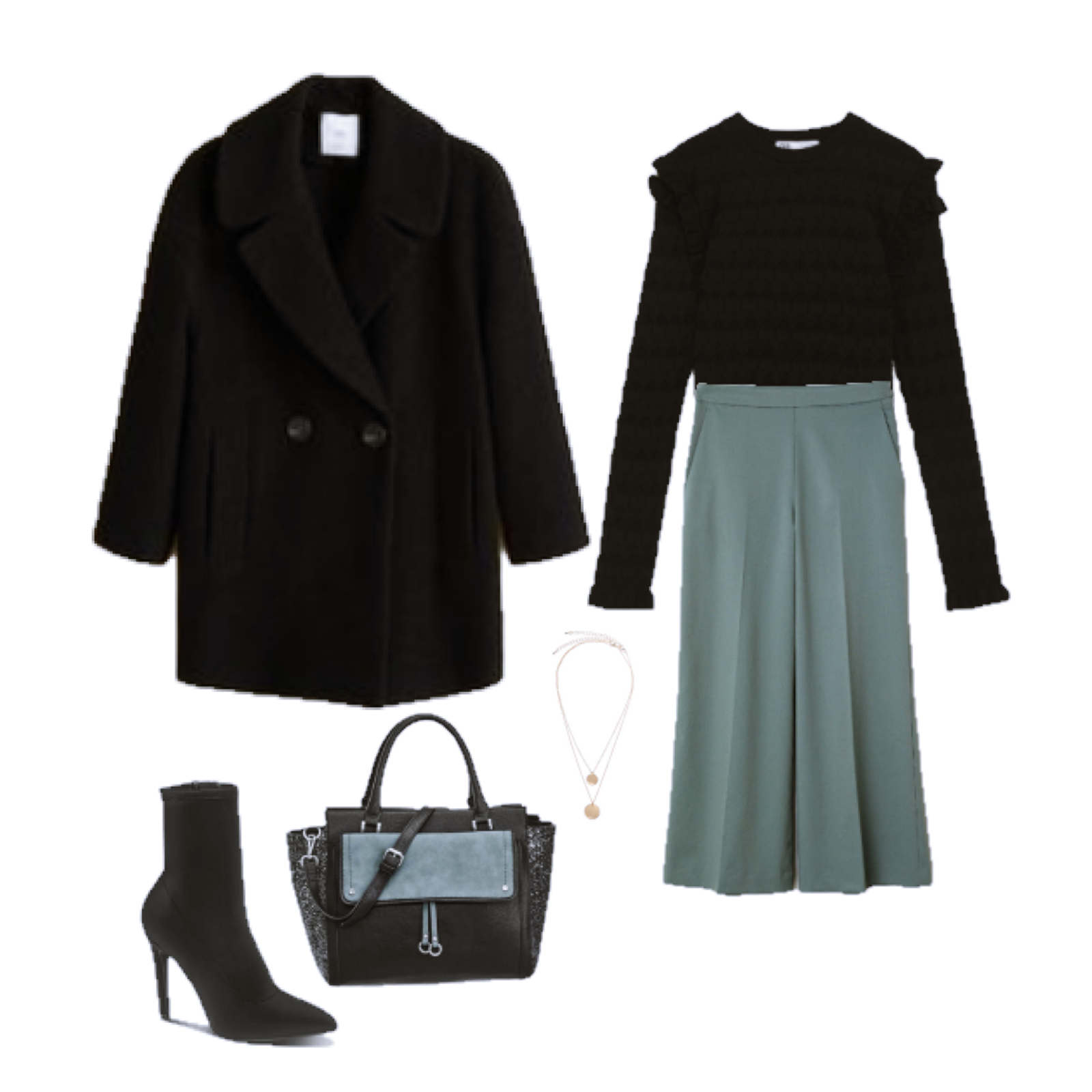 Outfit of the Day: dusky green wide leg pants
