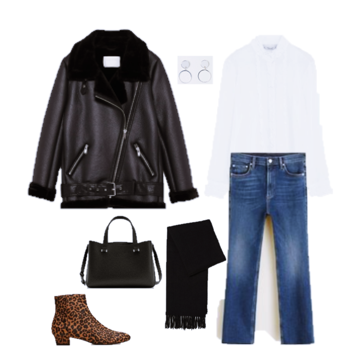 Outfit of the Day: a white Blouse, Leather and Leopard print