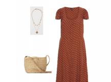 Outfit des Tages: ein braunes gepunktetes Kleid