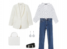 Outfit of the Day: a white polka-dot shirt