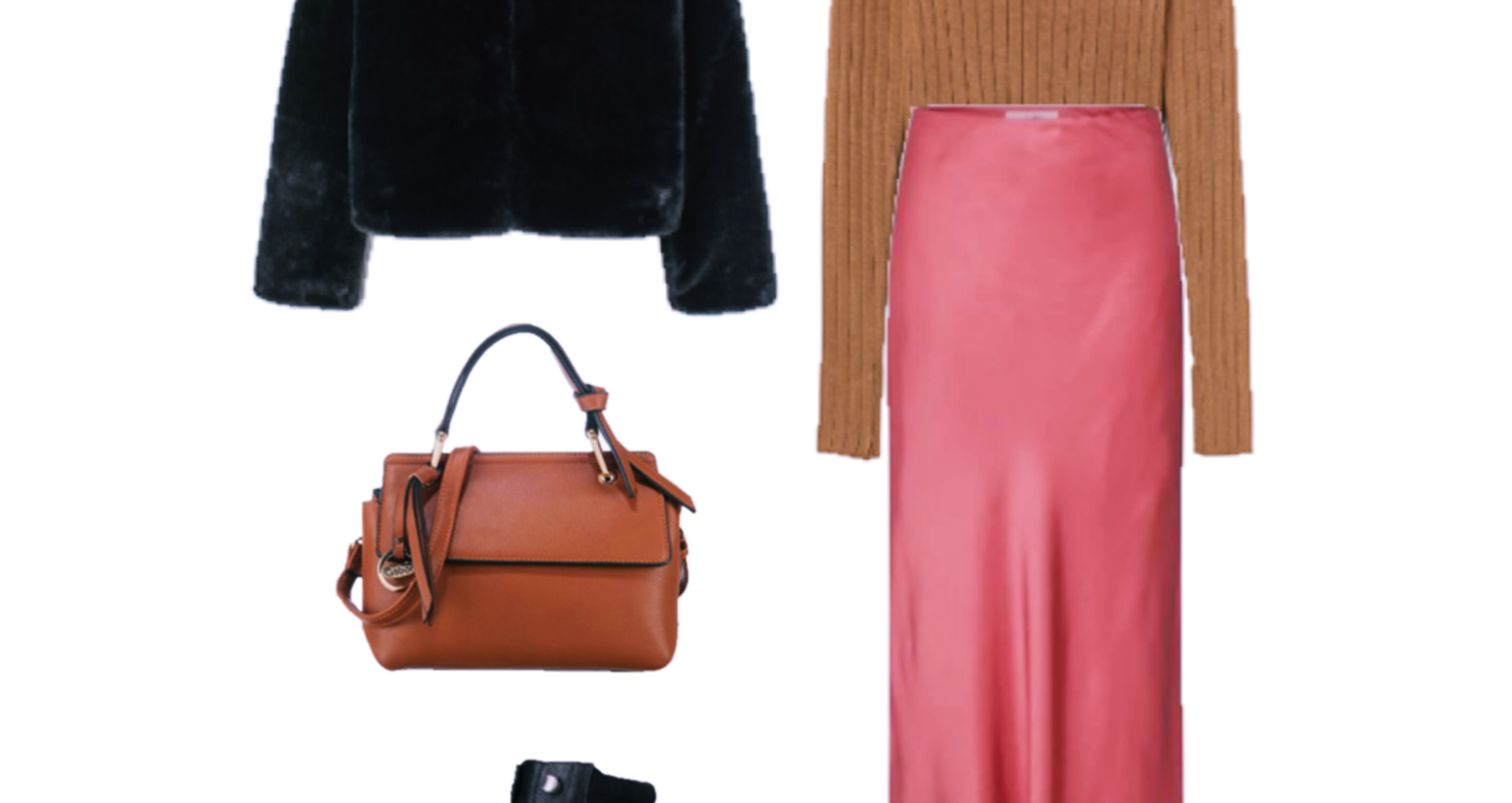 Two Outfits with Satin Midi Skirts