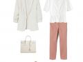 Look del día: blanco y rosa palo para la oficina