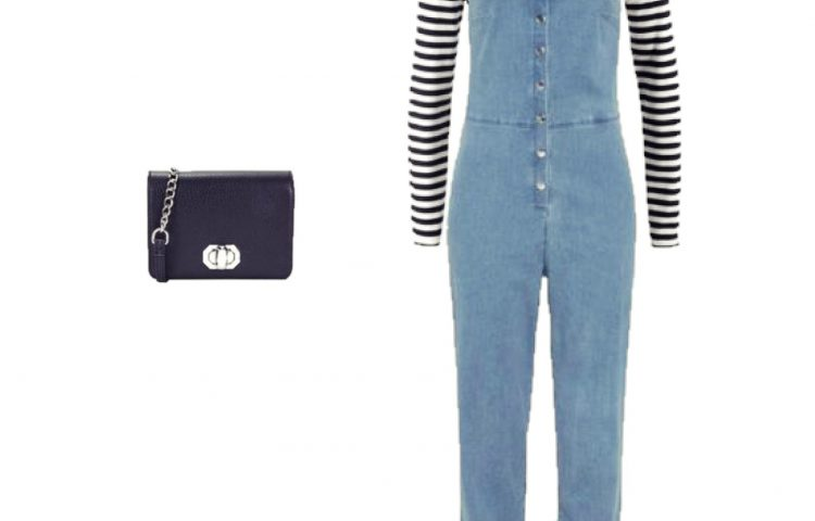 Outfit of the Day: striped tee and denim overalls