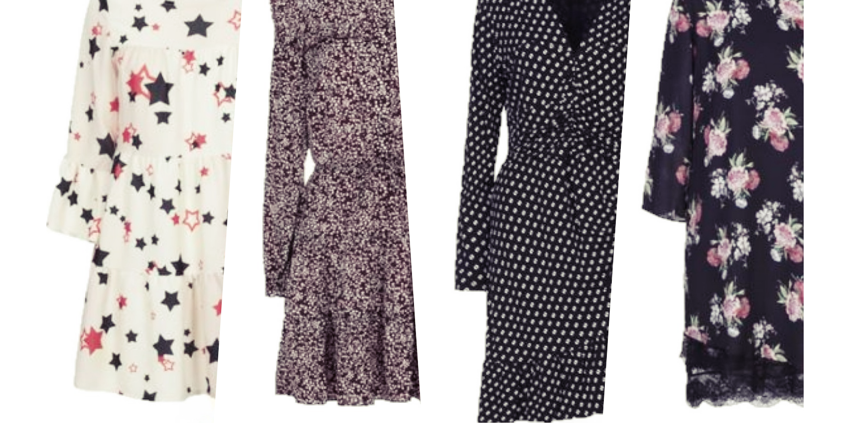 4 Outfits with printed dresses and midi boots