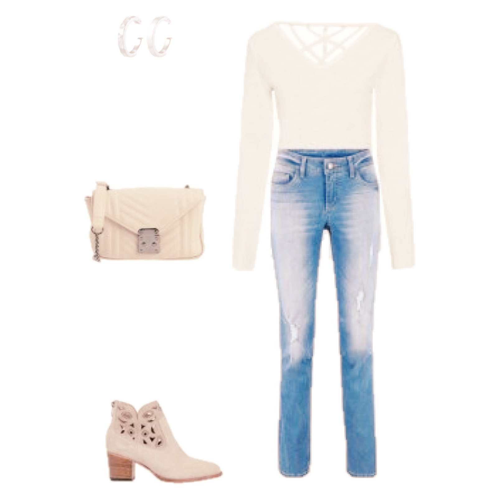 Outfit of the Day: white and nude