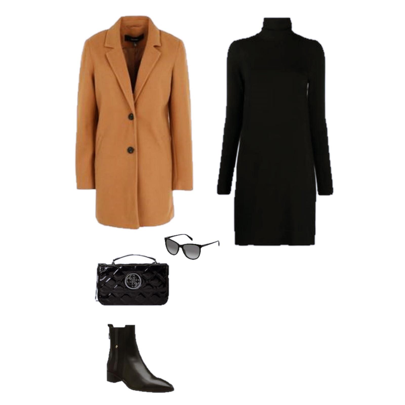 Outfit des Tages: ein schwarzes Rollkragenpullover-Kleid